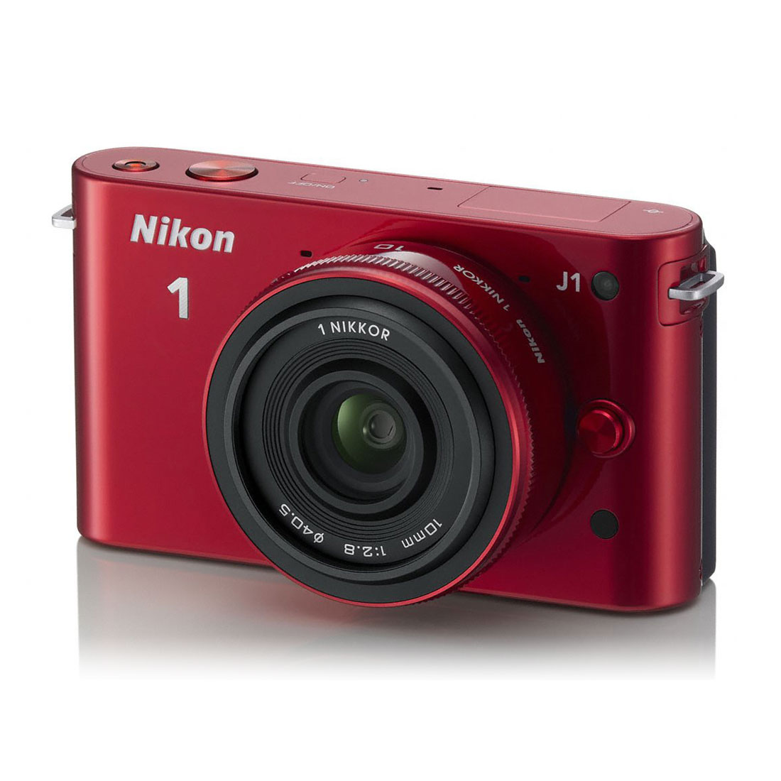 nikon 1 j1 rouge objectif 1 nikkor 10 mm f 2 8. Black Bedroom Furniture Sets. Home Design Ideas