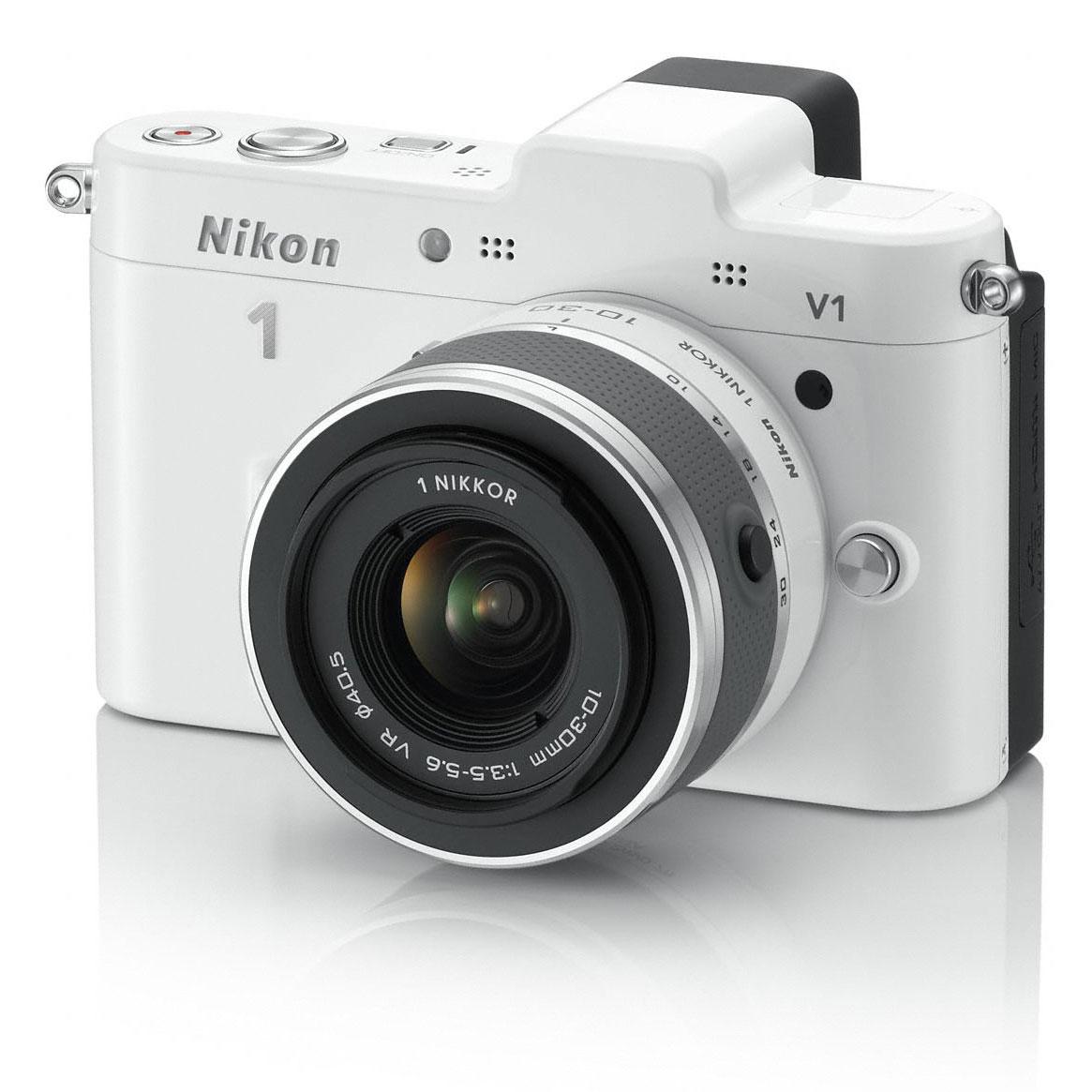 nikon 1 v1 blanc objectif 1 nikkor vr 10 30mm f 3 5 5 6 appareil photo hybride nikon sur. Black Bedroom Furniture Sets. Home Design Ideas