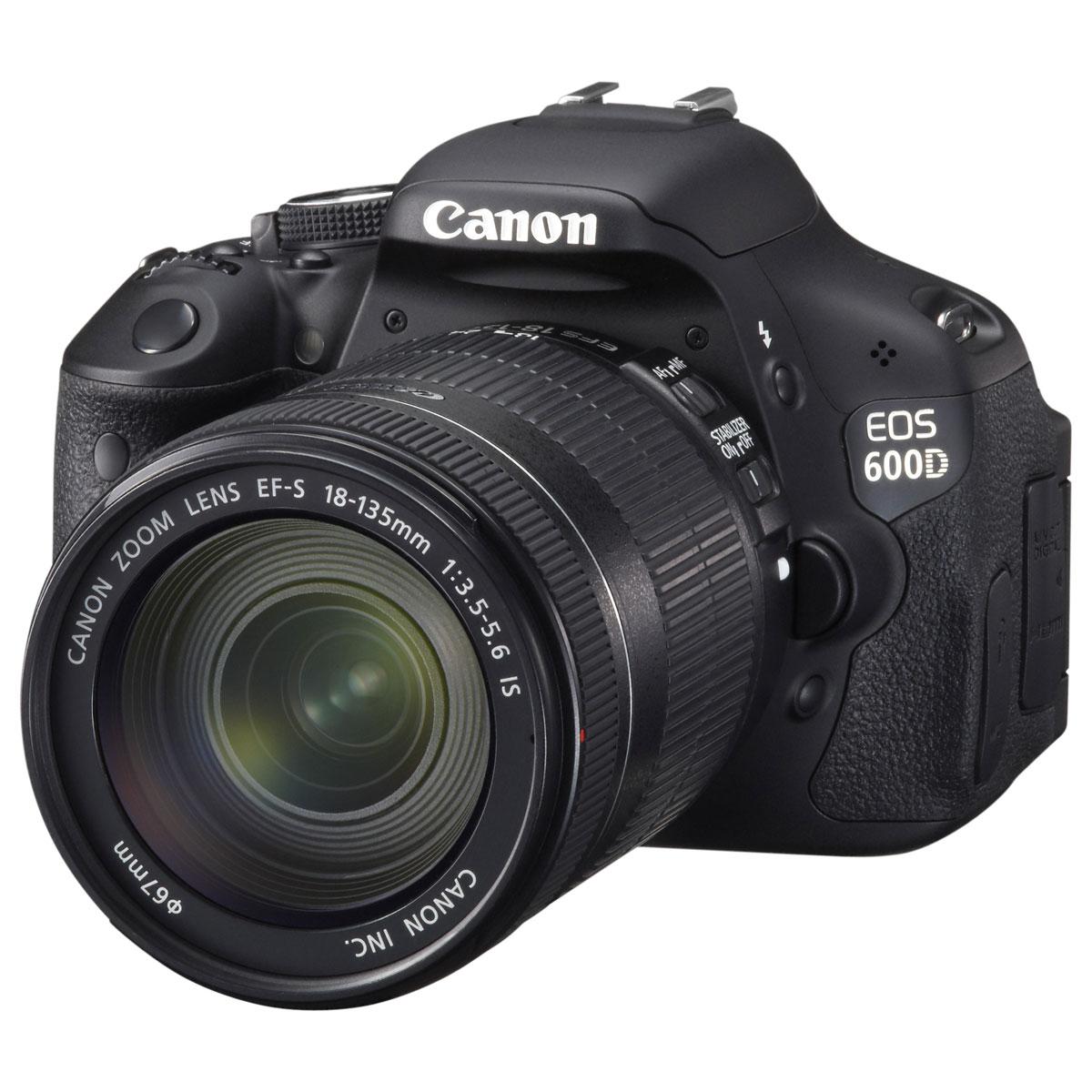 """Appareil photo Reflex Canon EOS 600D + Objectif EF-S 18-135mm f/3.5-5.6 IS Réflex Numérique 18 MP - Ecran 3"""" - Vidéo Full HD + Objectif EF-S 18-135mm f/3.5-5.6 IS"""