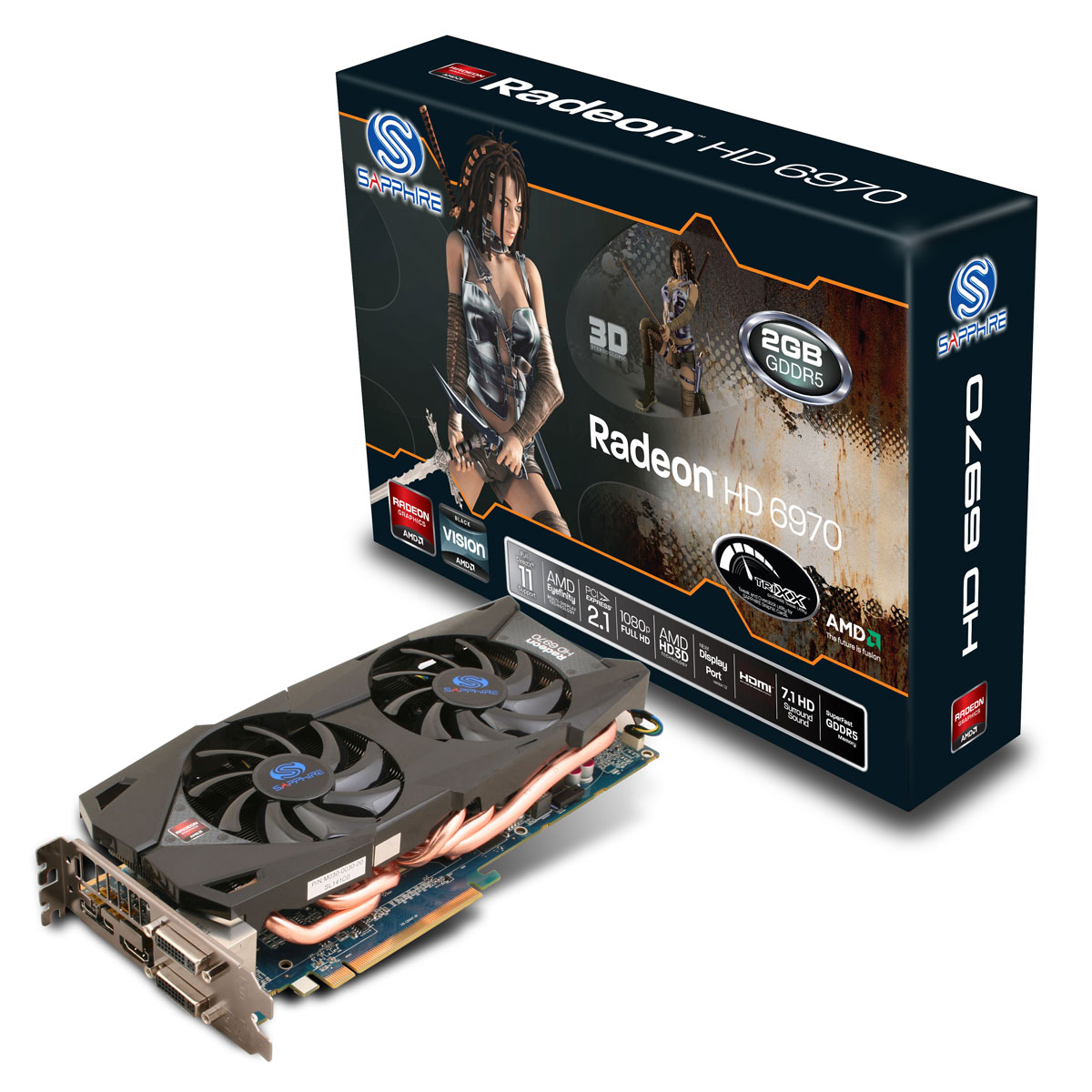 Carte graphique Sapphire Radeon HD 6970 2 Go Dual Fan 2 Go HDMI/Dual DVI/Dual Mini-DisplayPort - PCI Express (AMD Radeon HD 6970)