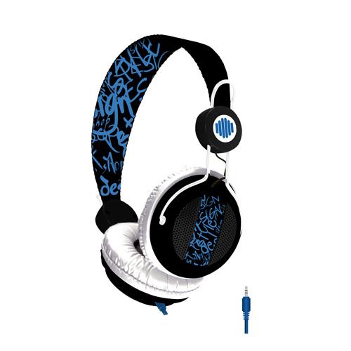 Casque B-Move Casque Soundwave Noir & Bleu Casque supra-auriculaire avec micro