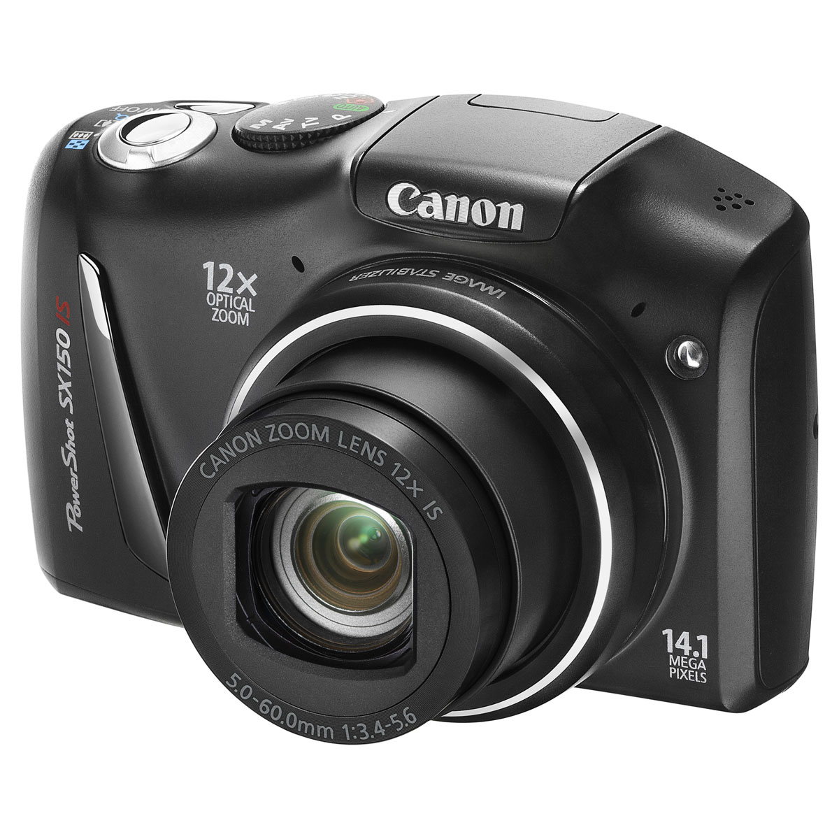 Appareil photo numérique Canon PowerShot SX150 IS Noir Appareil photo 14,1 MP - Zoom 12x - Vidéo HD