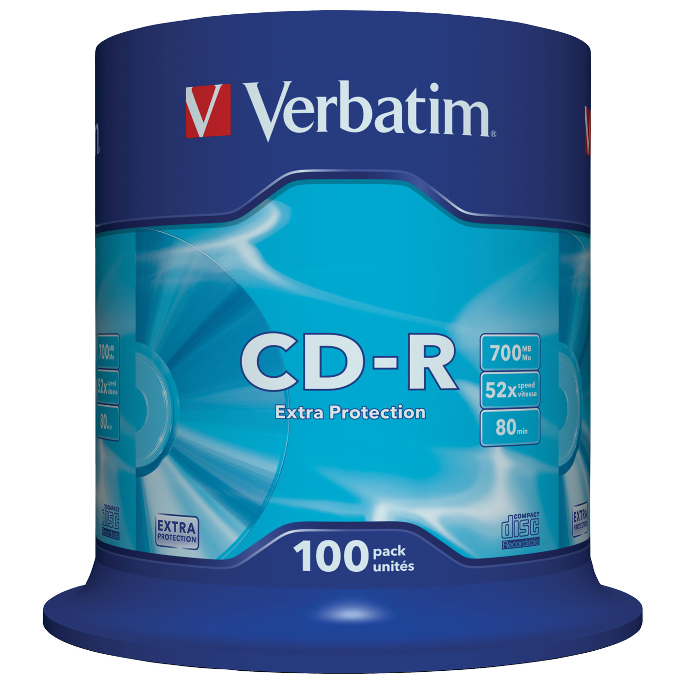 CD Verbatim CD-R 700 Mo 52x (spindle de 100) Verbatim CD-R 700 Mo certifié 52x (pack de 100, spindle)