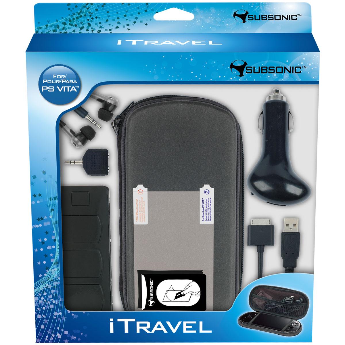 Accessoires PS Vita SubSonic iTravel (PS Vita) Sacoche + boitier de transport + film de protection + câble USB + allume-cigare pour PS Vita