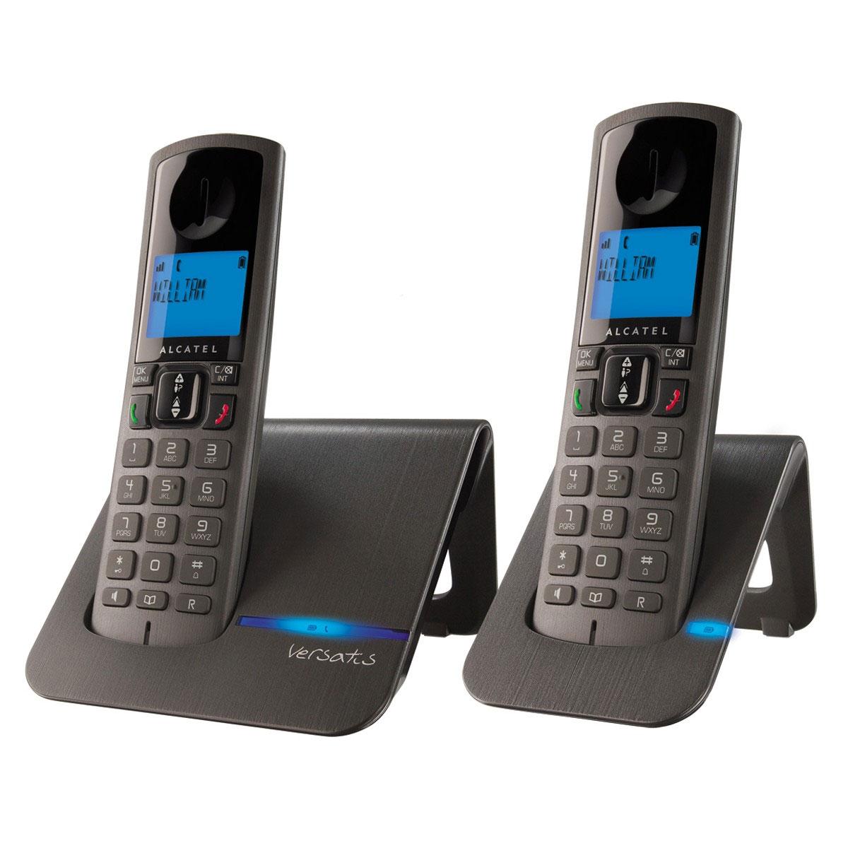 Téléphone sans fil Alcatel Versatis F250 Duo Noir Téléphone DECT sans fil avec combiné supplémentaire (version française)