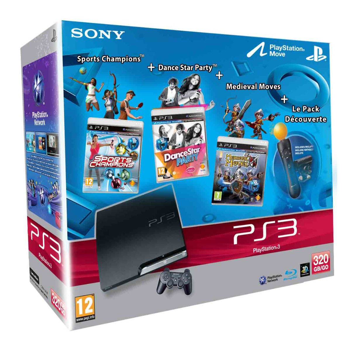 sony playstation 3 slim 320 go move sports champions. Black Bedroom Furniture Sets. Home Design Ideas