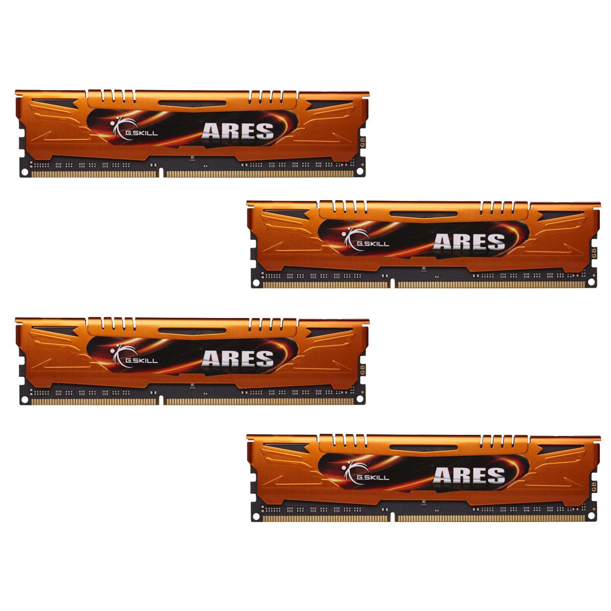Mémoire PC G.Skill Ares Orange Series 32 Go (4 x 8 Go) DDR3 1600 MHz CL10 Kit Quad Channel DDR3 PC3-12800 - F3-1600C10Q-32GAO (garantie à vie par G.Skill)