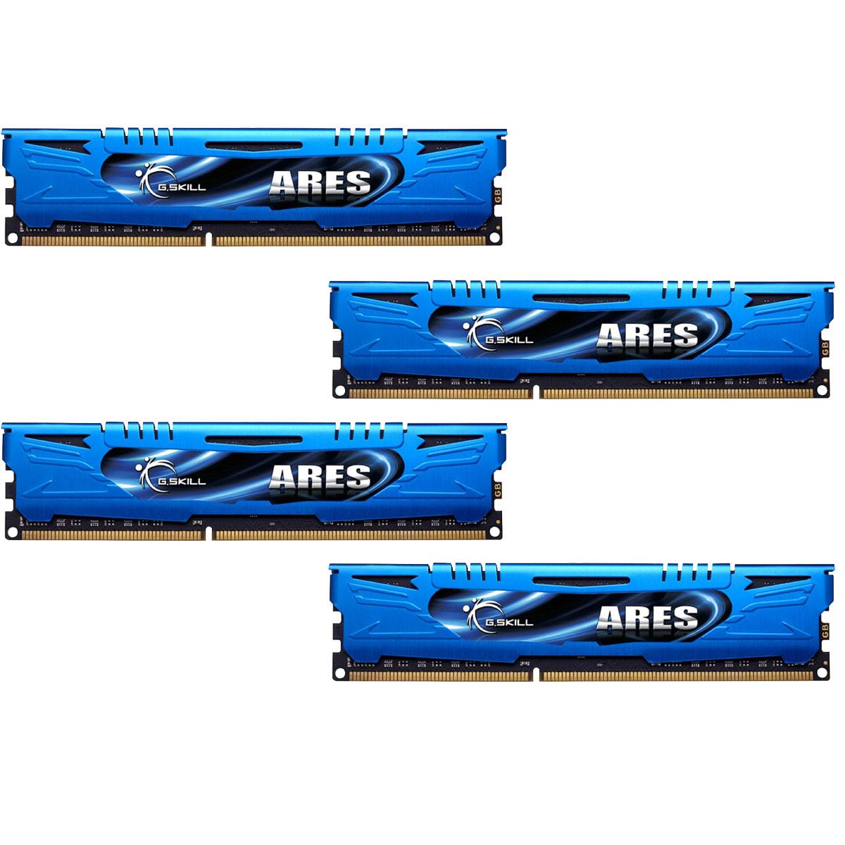 Mémoire PC G.Skill Ares Blue Series 16 Go (4 x 4 Go) DDR3 1600 MHz CL9 Kit Quad Channel DDR3 PC3-12800 - F3-1600C9Q-16GAB (garantie à vie par G.Skill)