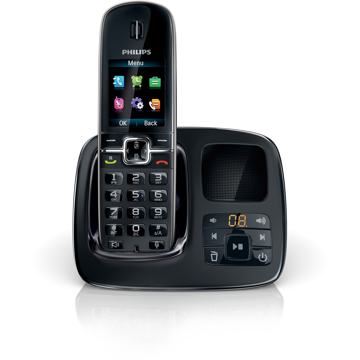 philips cd4961 noir t l phone sans fil philips sur. Black Bedroom Furniture Sets. Home Design Ideas