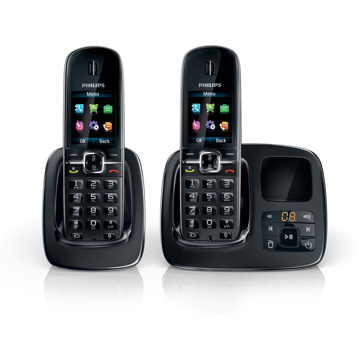 philips cd4962 duo noir t l phone sans fil philips sur. Black Bedroom Furniture Sets. Home Design Ideas