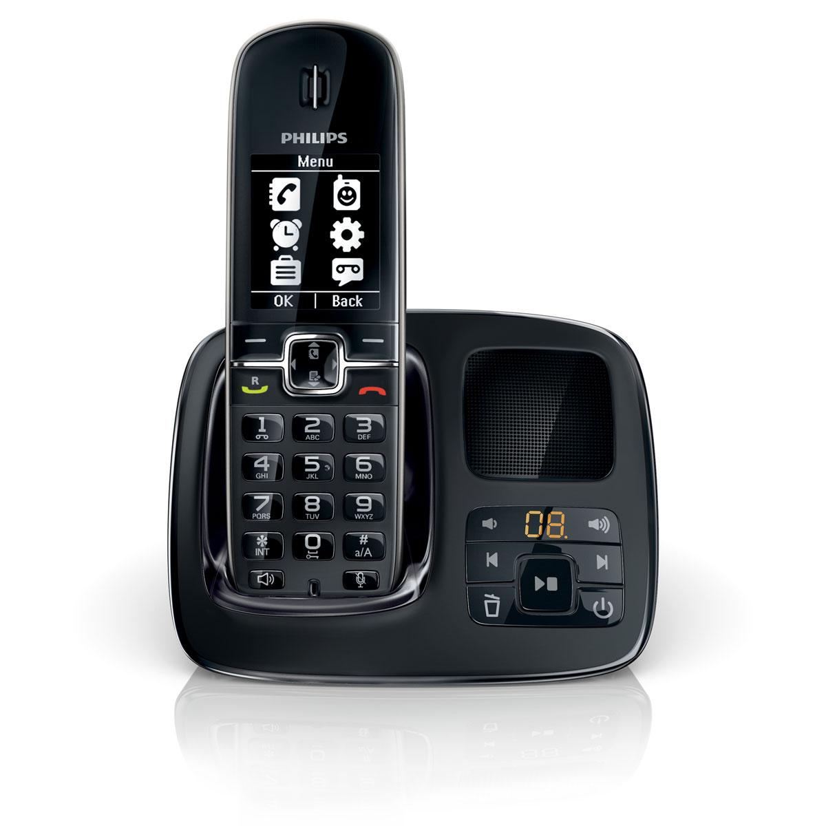 philips cd4951 noir t l phone sans fil philips sur. Black Bedroom Furniture Sets. Home Design Ideas