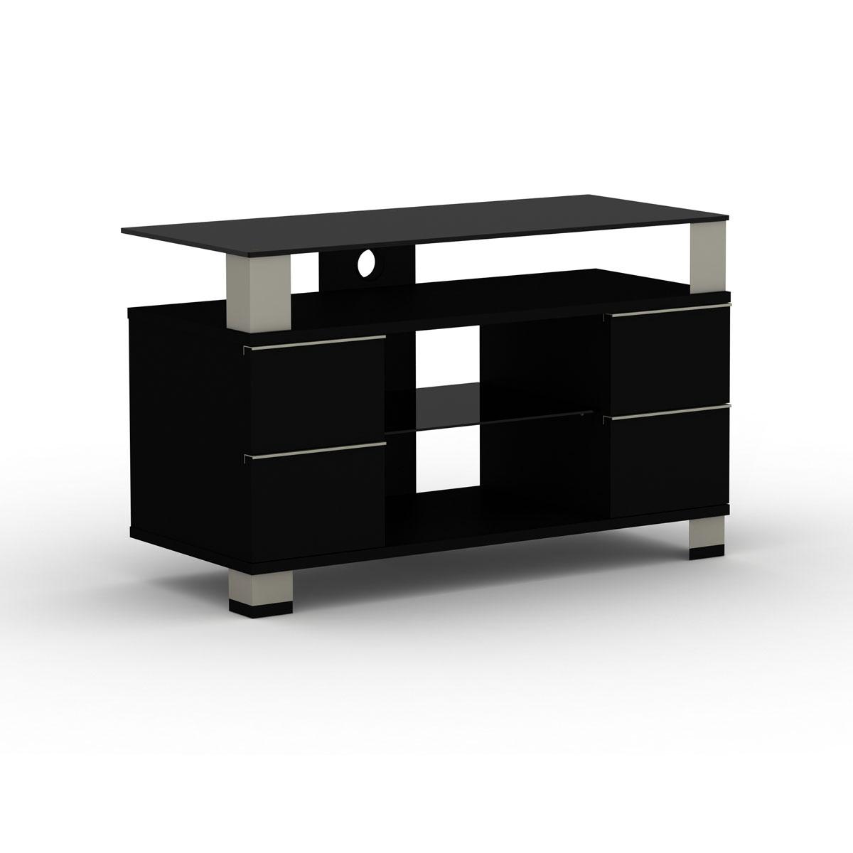 Elmob pone pn 095 01 noir meuble tv elmob sur for Meuble tv ecran plat suspendu
