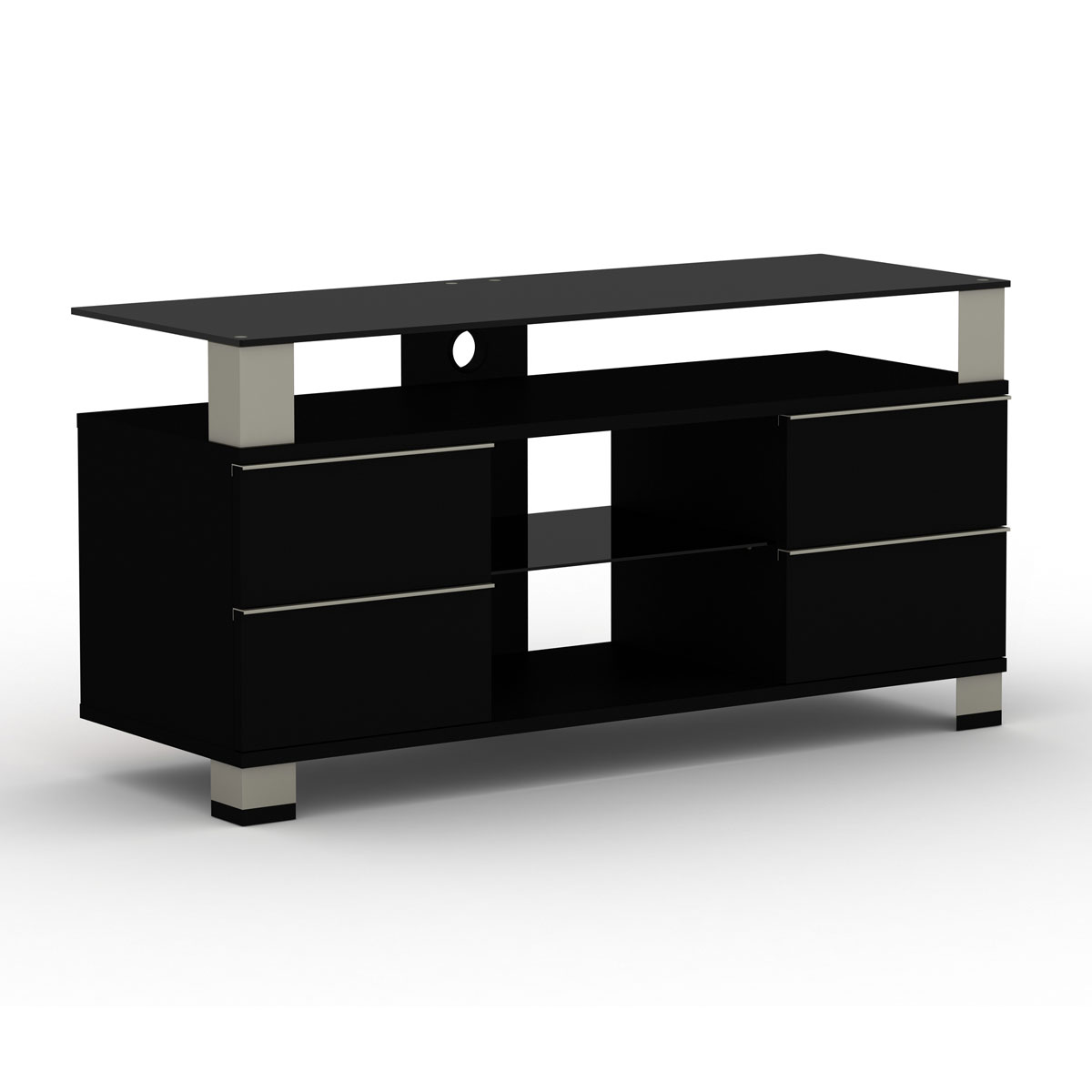 Elmob pone pn 120 02 noir meuble tv elmob sur for Meuble tv 50 pouces