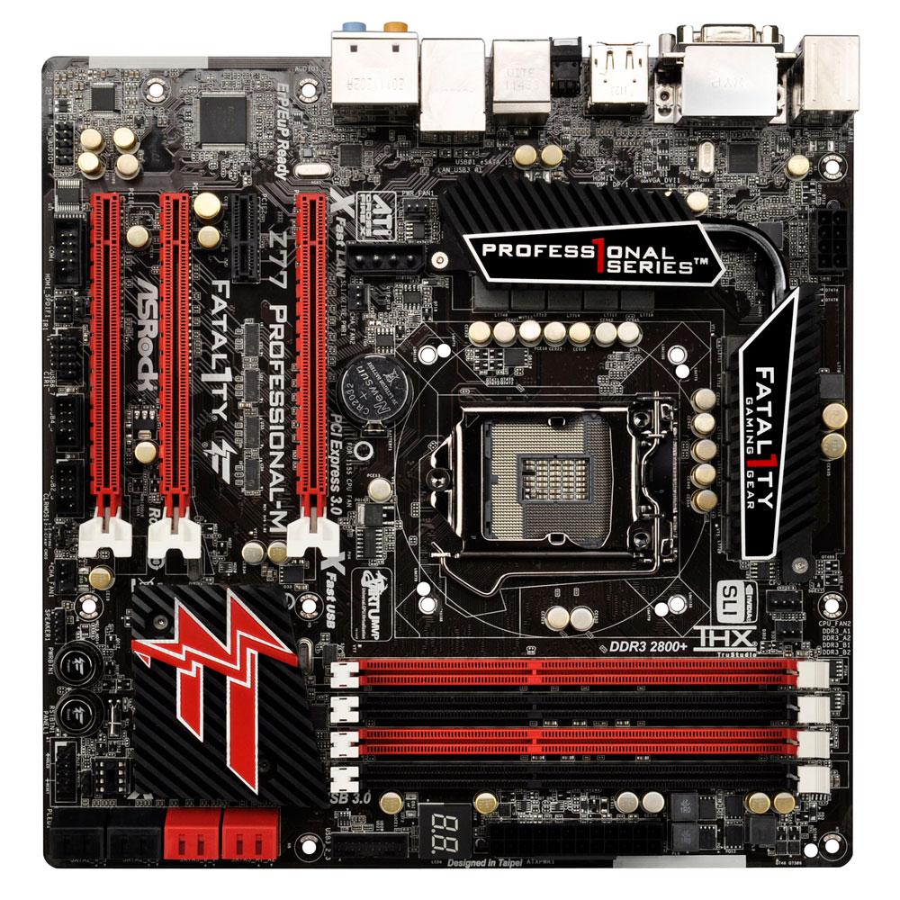 Carte mère ASRock Fatal1ty Z77 Professional-M Carte mère Micro ATX Socket 1155 Intel Z77 Express - SATA 6Gb/s - USB 3.0 - 2x PCI-Express 3.0 16x + 1x PCI-Express 2.0 16x