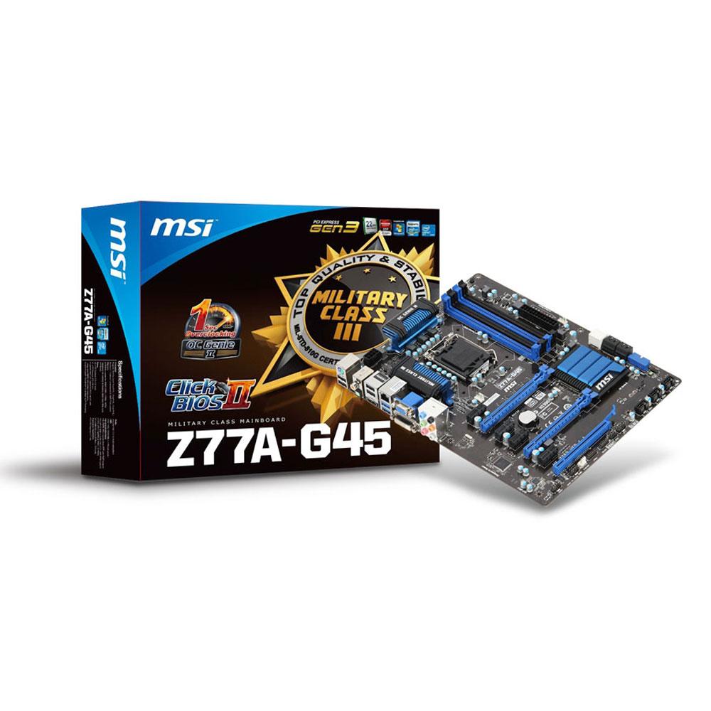 Carte mère MSI Z77A-G45 Carte mère ATX Socket 1155 Intel Z77 Express - SATA 6Gb/s - USB 3.0 - 2x PCI-Express 3.0 16x + 1x PCI-Express 2.0 16x