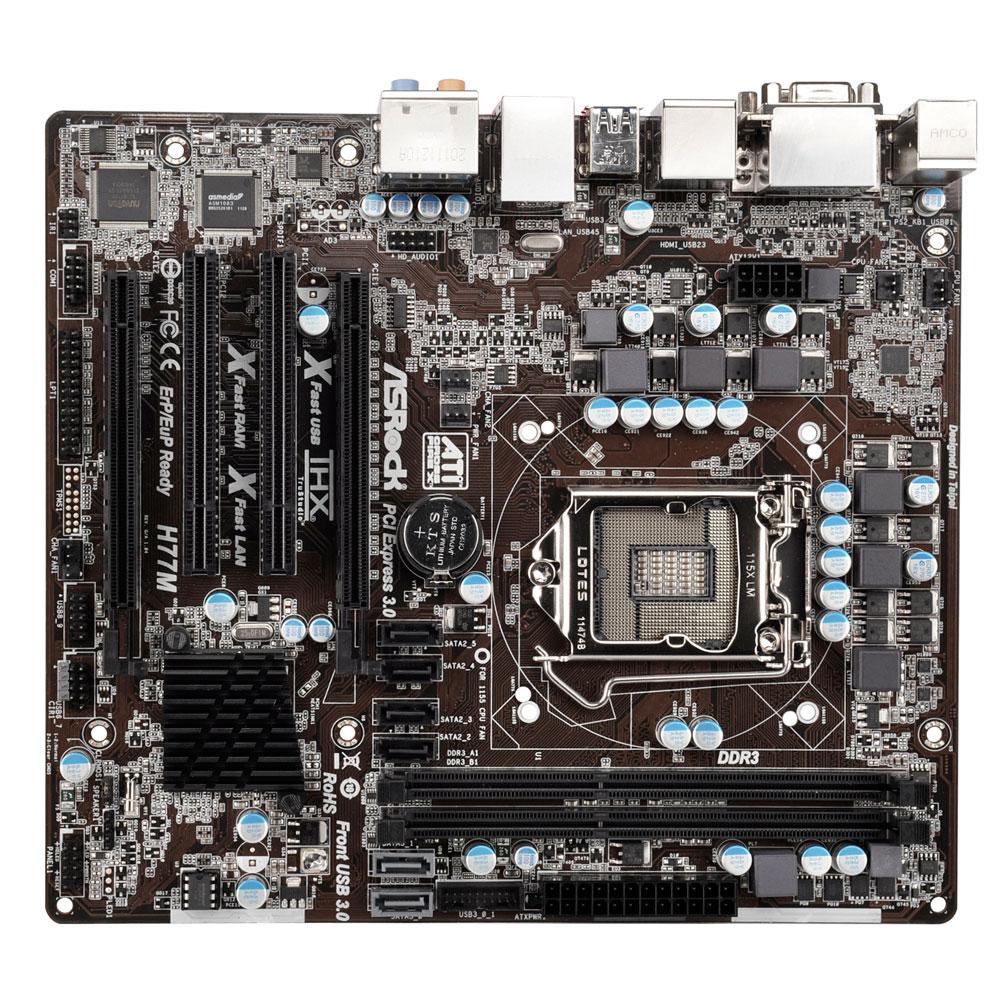 Carte mère ASRock H77M Carte mère Micro ATX Socket 1155 Intel H77 Express - SATA 6Gb/s - USB 3.0 - 1x PCI-Express 3.0 16x + 1x PCI-Express 2.0 16x