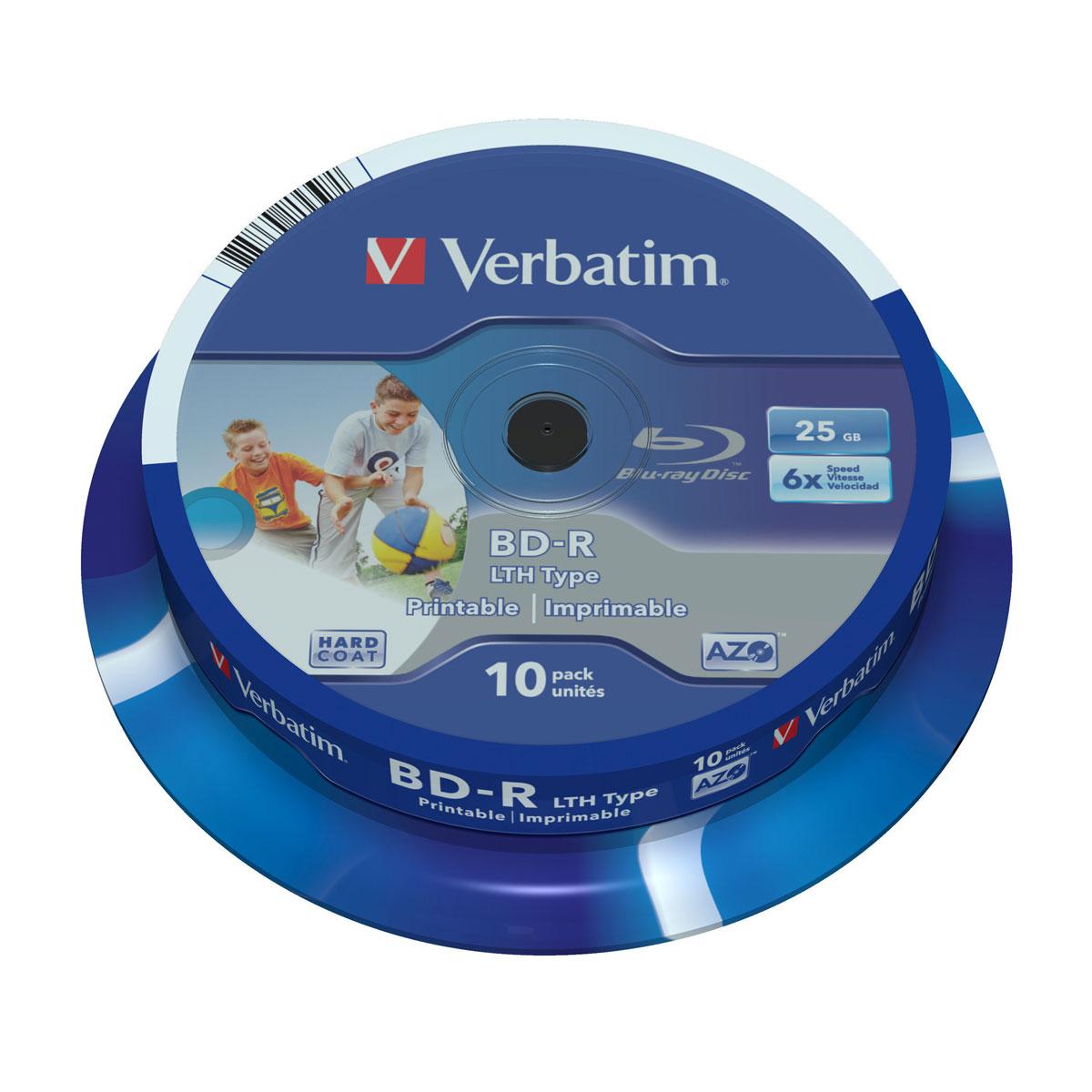 Blu-ray Verbatim BD-R LTH 25 Go certifié 6x imprimable (par 10, spindle) Verbatim BD-R LTH 25 Go certifié 6x imprimable (pack de 10, spindle)