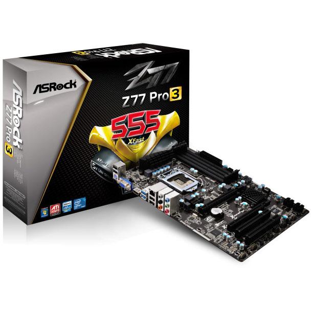 Carte mère ASRock Z77 Pro3 Carte mère ATX Socket 1155 Intel Z77 Express - SATA 6Gb/s - USB 3.0 - 1x PCI-Express 3.0 16x + 1x PCI-Express 2.0 16x