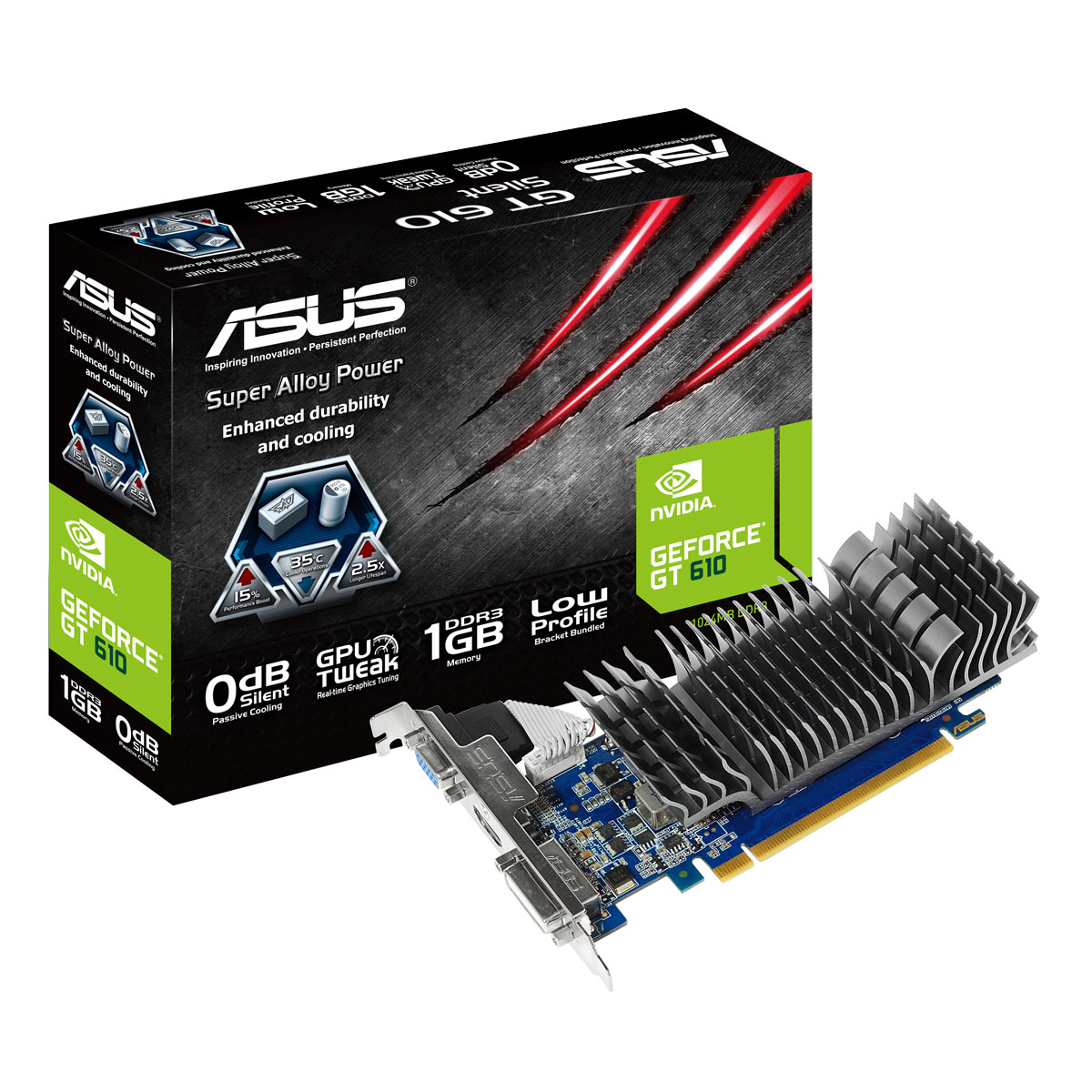 asus geforce gt 610 low profile 1 gb carte graphique asus sur. Black Bedroom Furniture Sets. Home Design Ideas