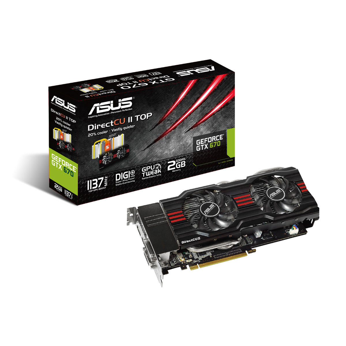 Carte graphique Asus GTX670-DC2T-2GD5 2 GB 2048 Mo Dual DVI/HDMI/DisplayPort - PCI Express (NVIDIA GeForce avec CUDA GTX 670)