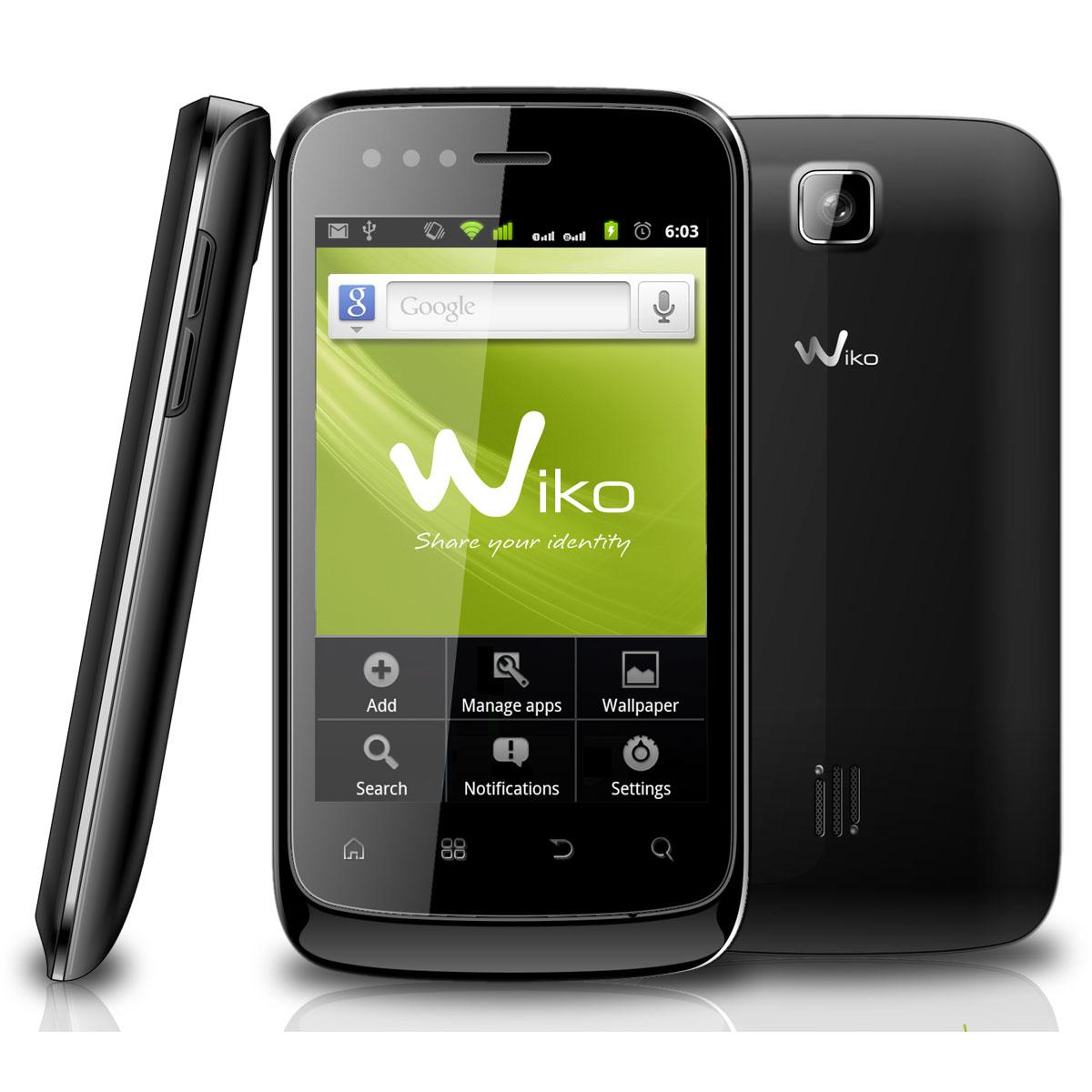 """Mobile & smartphone Wiko Cink Noir Smartphone 3G+ avec écran tactile 3.5"""" et 2 ports pour cartes SIM sous Android 2.3"""