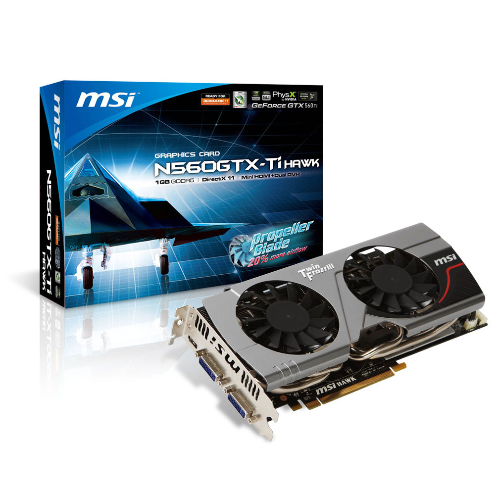 Carte graphique MSI N560GTX-Ti Hawk 1 GB 1024 Mo Dual DVI/Mini HDMI - PCI Express (NVIDIA GeForce avec CUDA GTX 560 Ti)