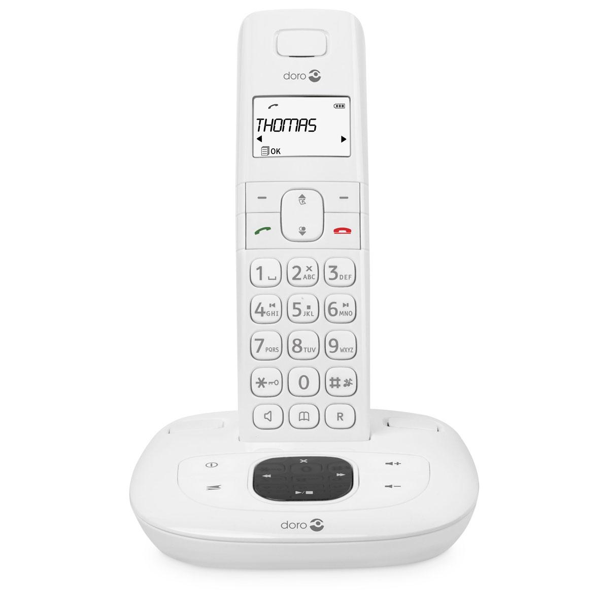 Téléphone sans fil Doro Comfort 1015 Blanc Téléphone DECT sans fil avec répondeur (version française)