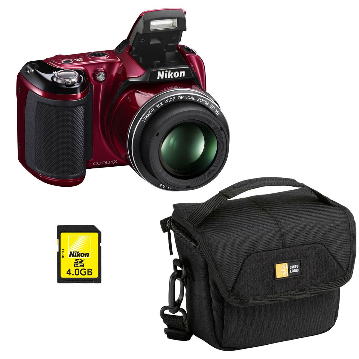 nikon coolpix l810 rouge case logic pvl 204 nikon sd 4 go appareil photo num rique nikon. Black Bedroom Furniture Sets. Home Design Ideas