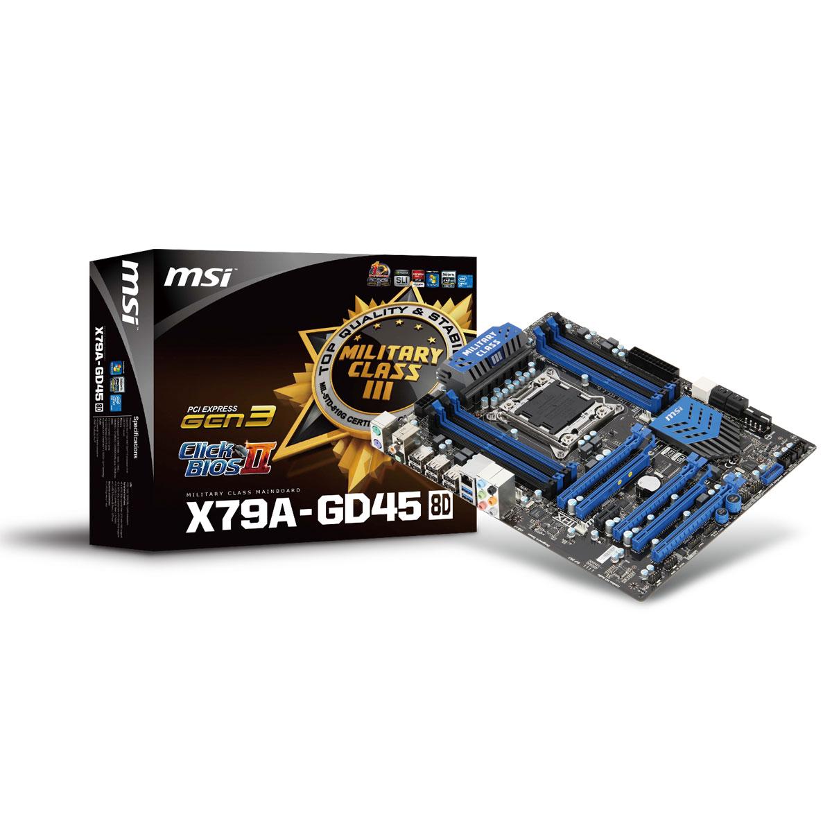 Carte mère MSI X79A-GD45 (8D) Carte mère ATX Socket 2011 Intel X79 Express - 8x DIMM DDR3 - SATA 6Gb/s - USB 3.0 - 3x PCI Express 3.0 16x + 2x PCI Express 2.0 16x