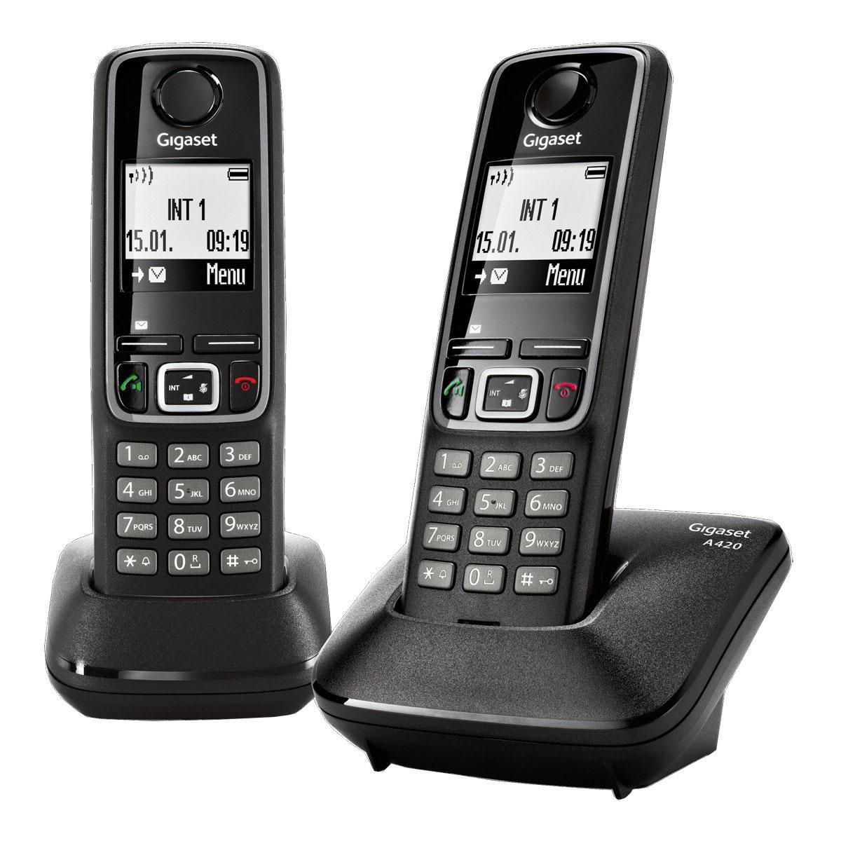 gigaset a420 duo noir t l phone sans fil gigaset sur. Black Bedroom Furniture Sets. Home Design Ideas