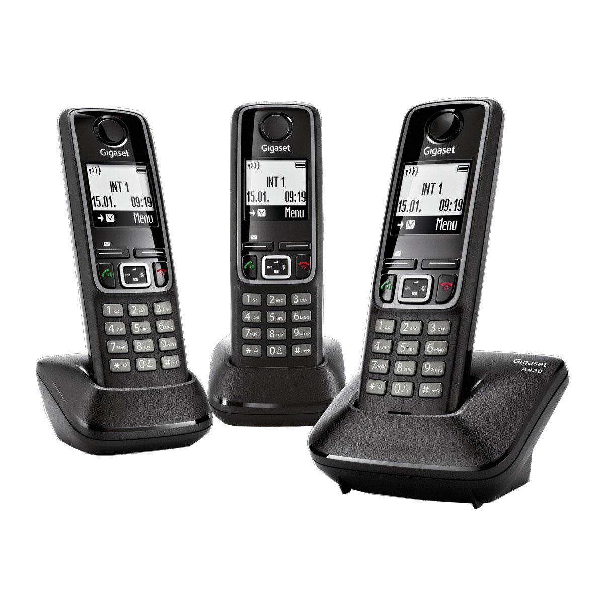 gigaset a420 trio noir t l phone sans fil gigaset sur. Black Bedroom Furniture Sets. Home Design Ideas