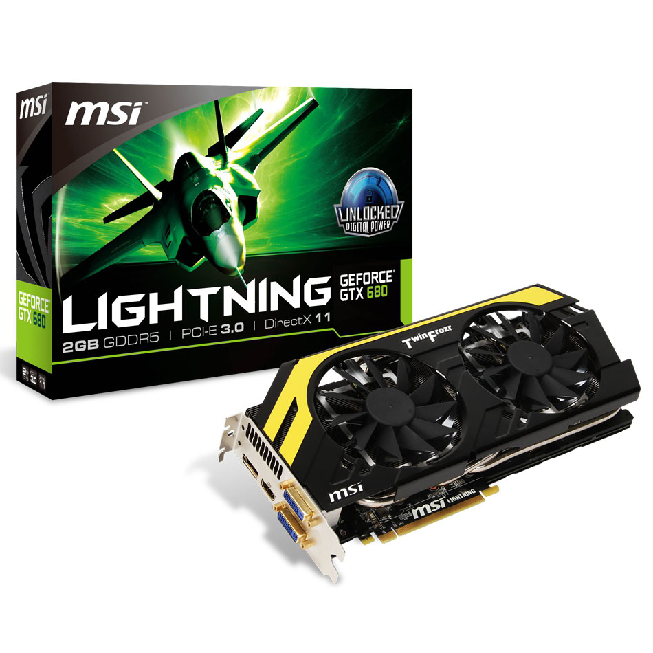 Carte graphique MSI N680GTX Lightning GeForce GTX 680 2 Go 2048 Mo Dual DVI/HDMI/DisplayPort - PCI Express (NVIDIA GeForce avec CUDA GTX 680)