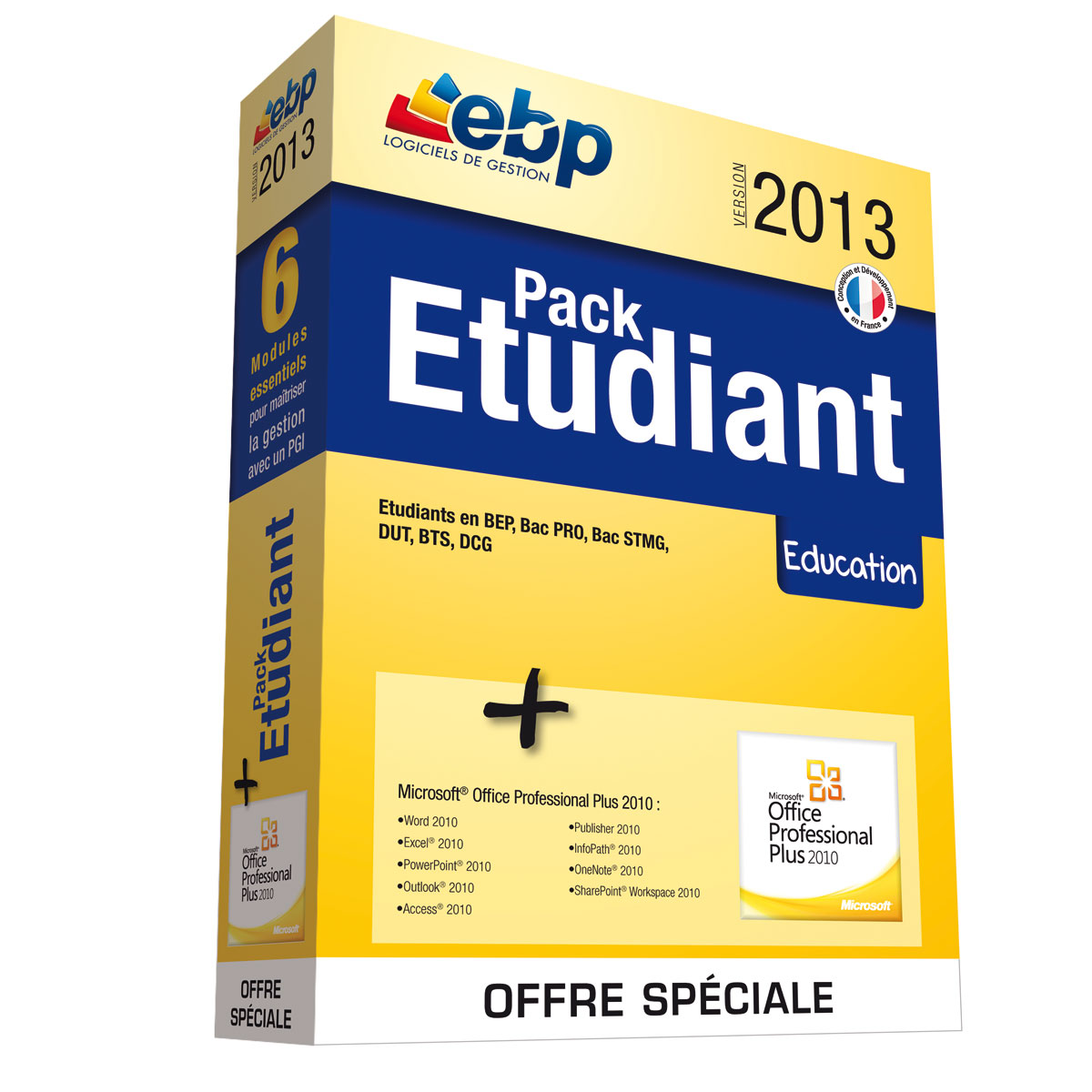 ebp pack etudiant 2013   microsoft office professionnel plus 2010
