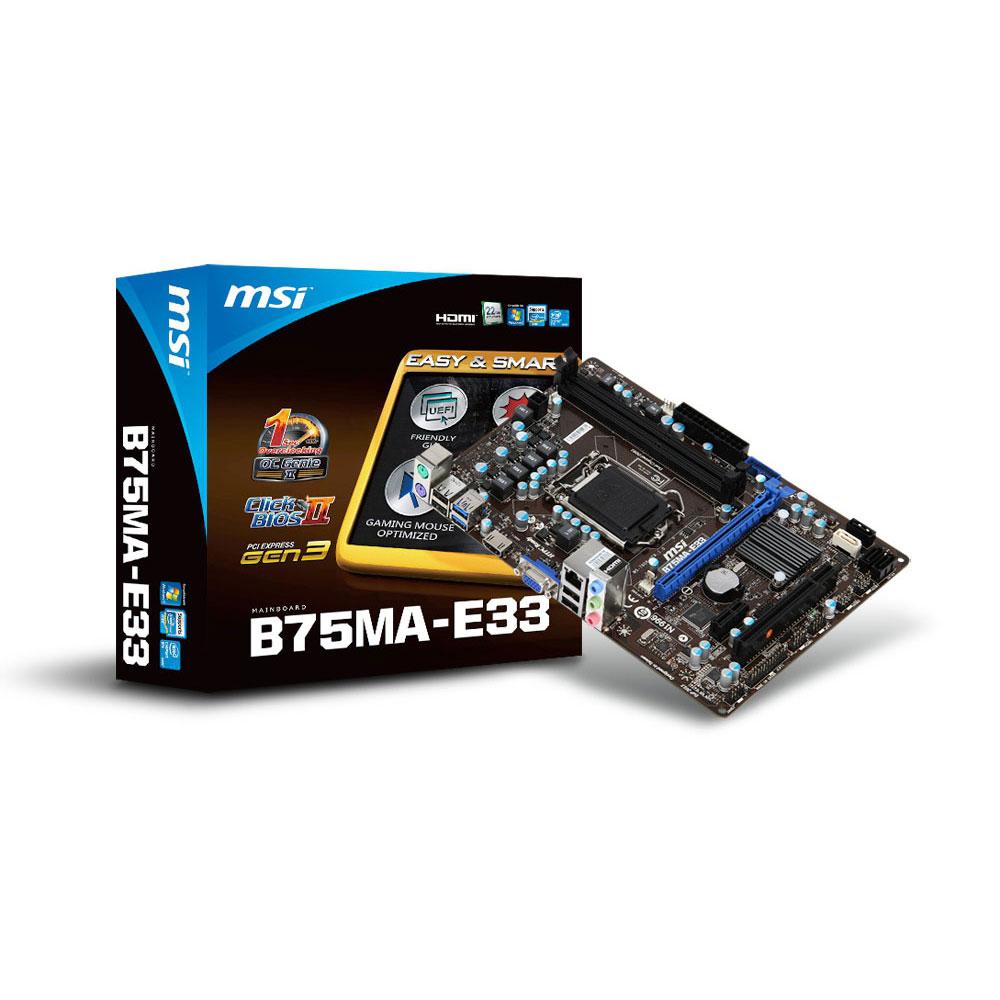 Carte mère MSI B75MA-E33 Carte mère micro-ATX Socket 1155 Intel B75 Express - SATA 6Gb/s - USB 3.0 - 1x PCI-Express 3.0 16x