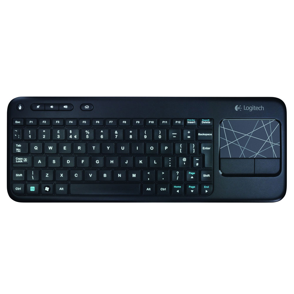 logitech wireless touch keyboard k400 noir clavier pc logitech sur. Black Bedroom Furniture Sets. Home Design Ideas