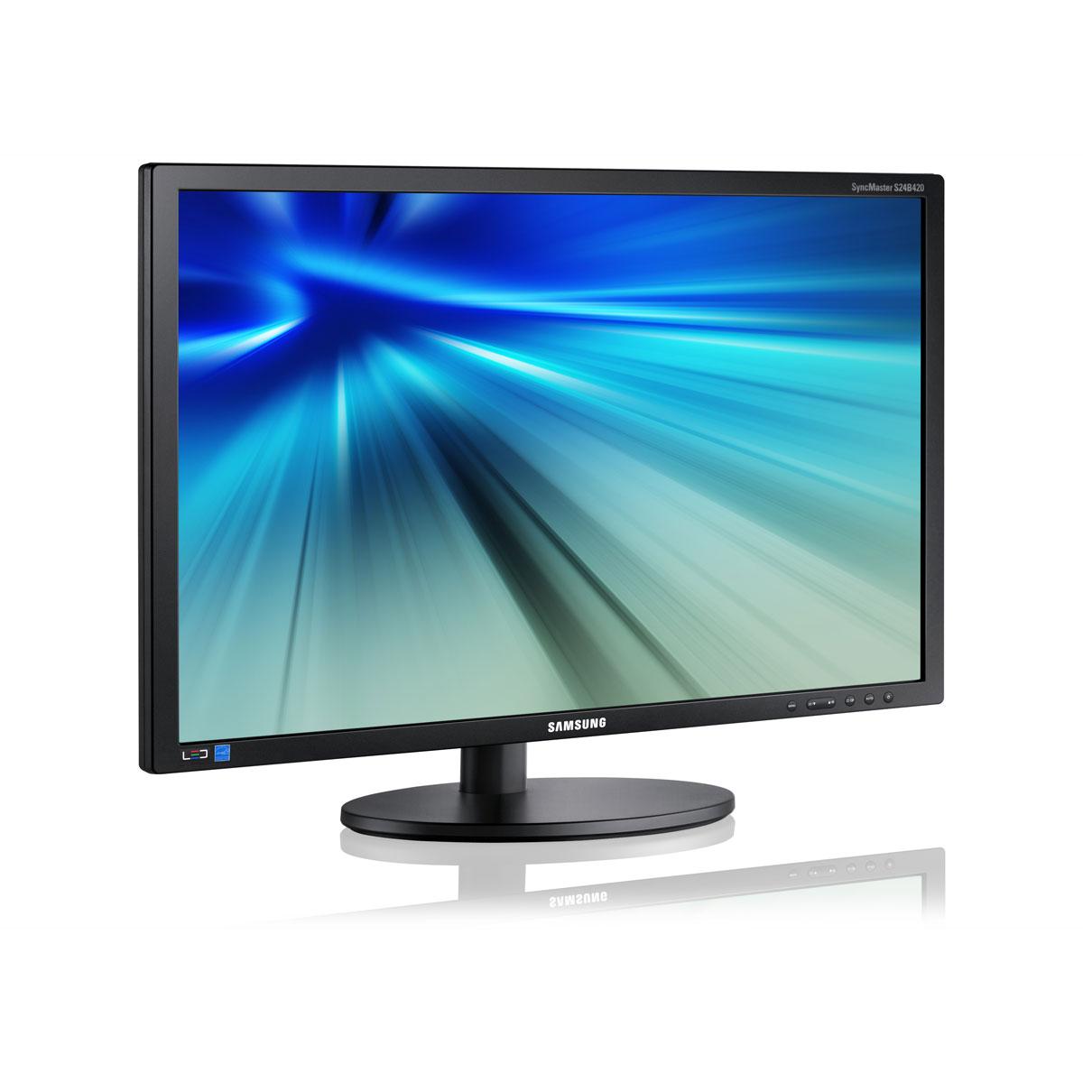 """Ecran PC Samsung 24"""" LED - SyncMaster S24B420BW 1920 x 1200 pixels - 5 ms - Format large 16/10 - Pivot - Noir (garantie constructeur 3 ans)"""