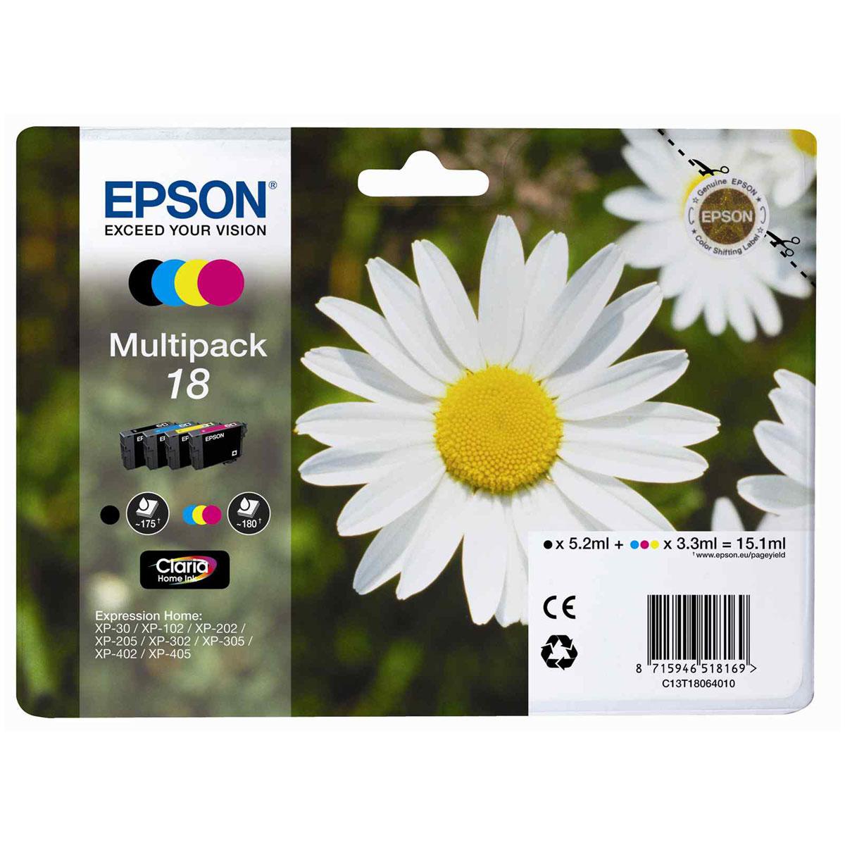 Cartouche imprimante Epson T1806 MultiPack Pack de 4 cartouches d'encre noire, cyan, magenta, jaune