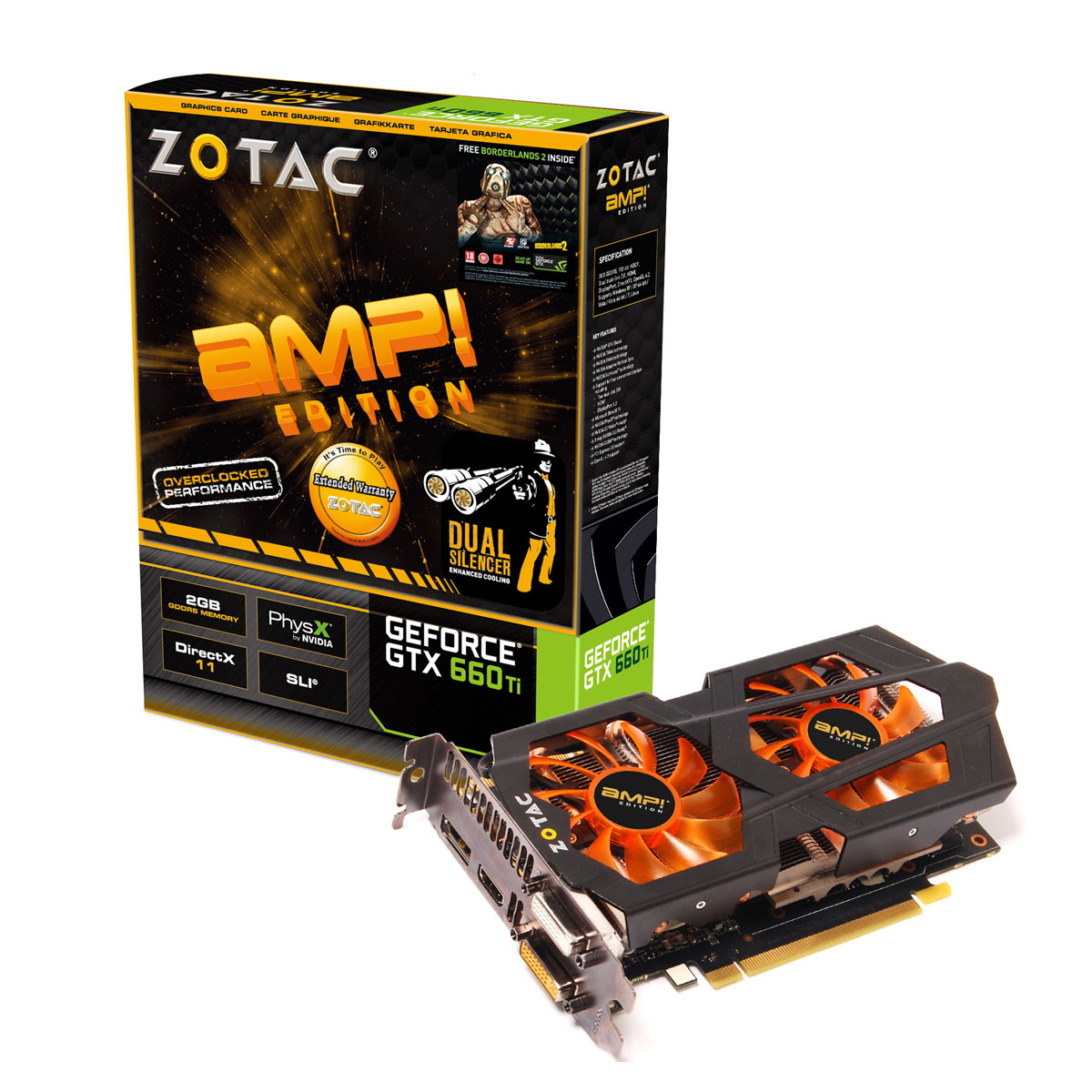 Carte graphique ZOTAC GeForce GTX 660Ti AMP ! Edition 2GB 2048 Mo Dual DVI/HDMI/DisplayPort - PCI Express (NVIDIA GeForce avec CUDA GTX 660 Ti) + Borderlands 2