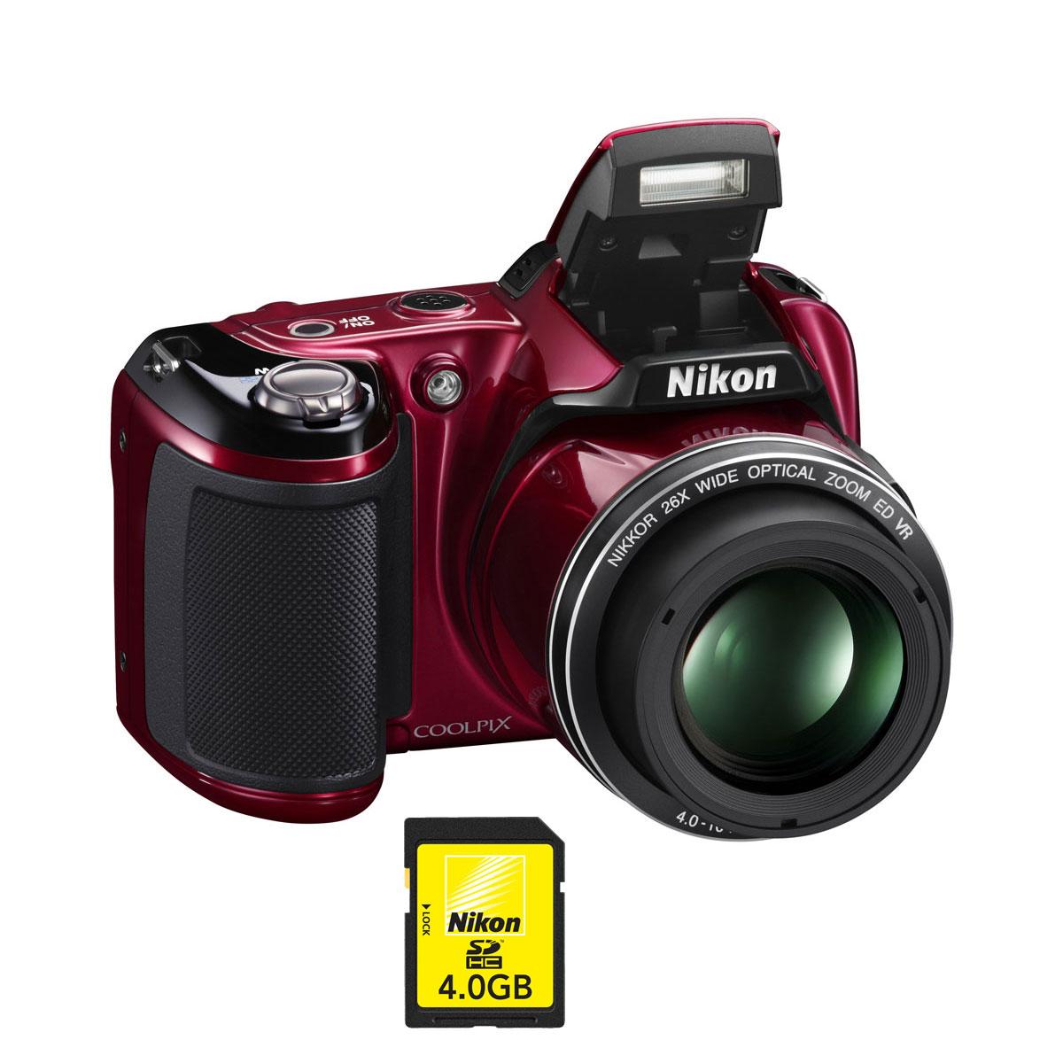 nikon coolpix l810 rouge nikon sdhc 4 go appareil photo num rique nikon sur. Black Bedroom Furniture Sets. Home Design Ideas
