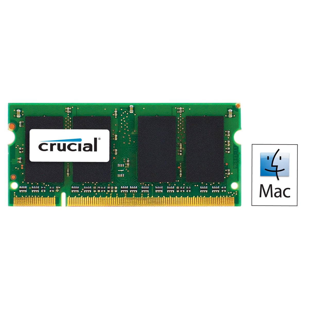 Crucial For Mac So Dimm 2 Go Ddr2 800 Mhz Cl6 M 233 Moire Pc