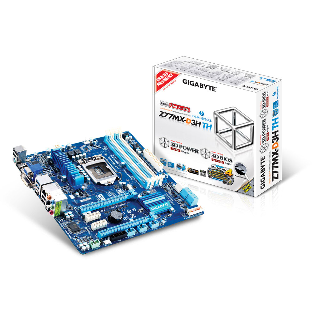 Carte mère Gigabyte GA-Z77MX-D3H TH Carte mère Micro ATX Socket 1155 Intel H77 Express - SATA 6Gb/s - USB 3.0 - Thunderbolt - 1x PCI-Express 3.0 16x + 2x PCI-Express 2.0 16x