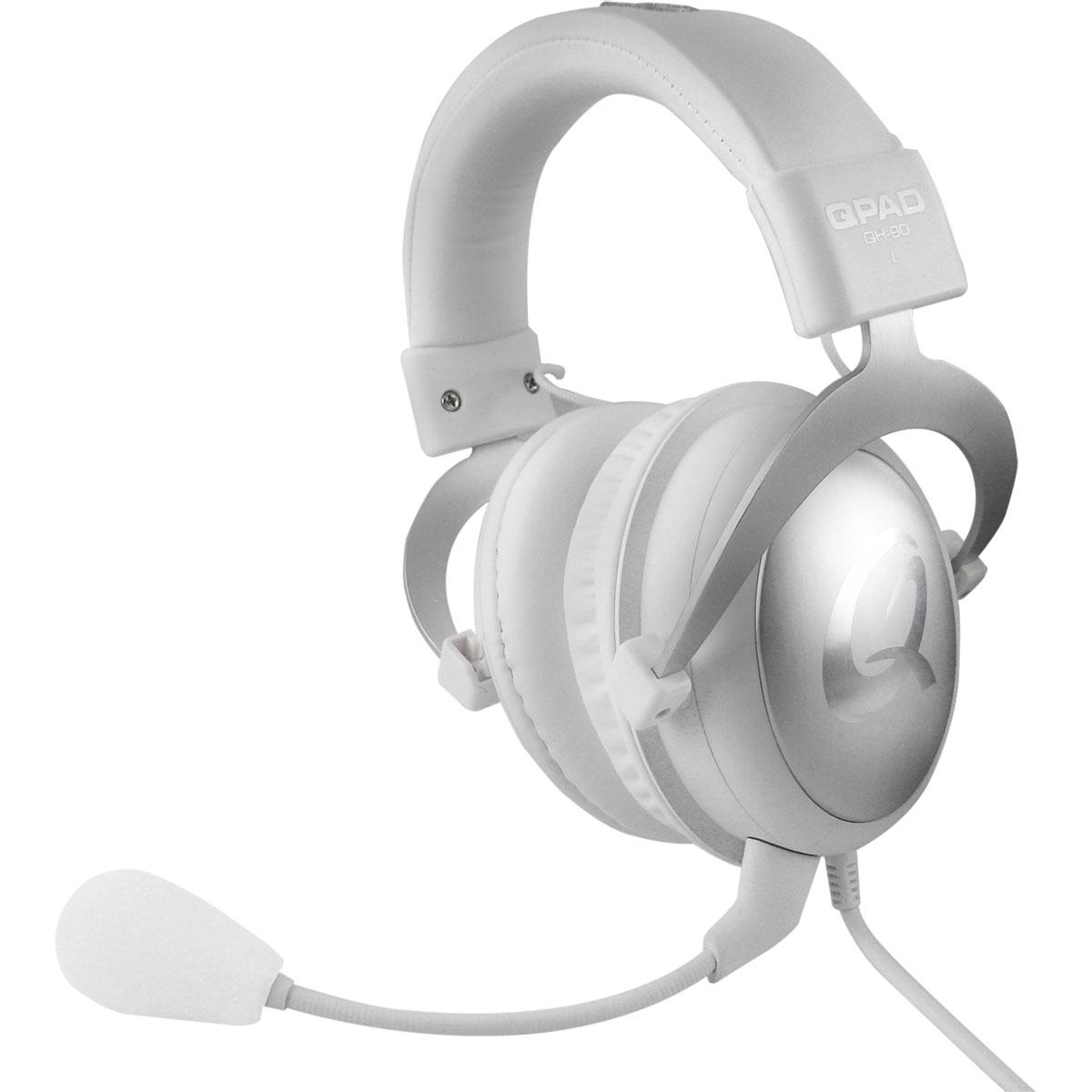 Micro-casque gamer QPAD QH-90 (blanc) Casque-micro circum-auriculaire fermé pour gamer