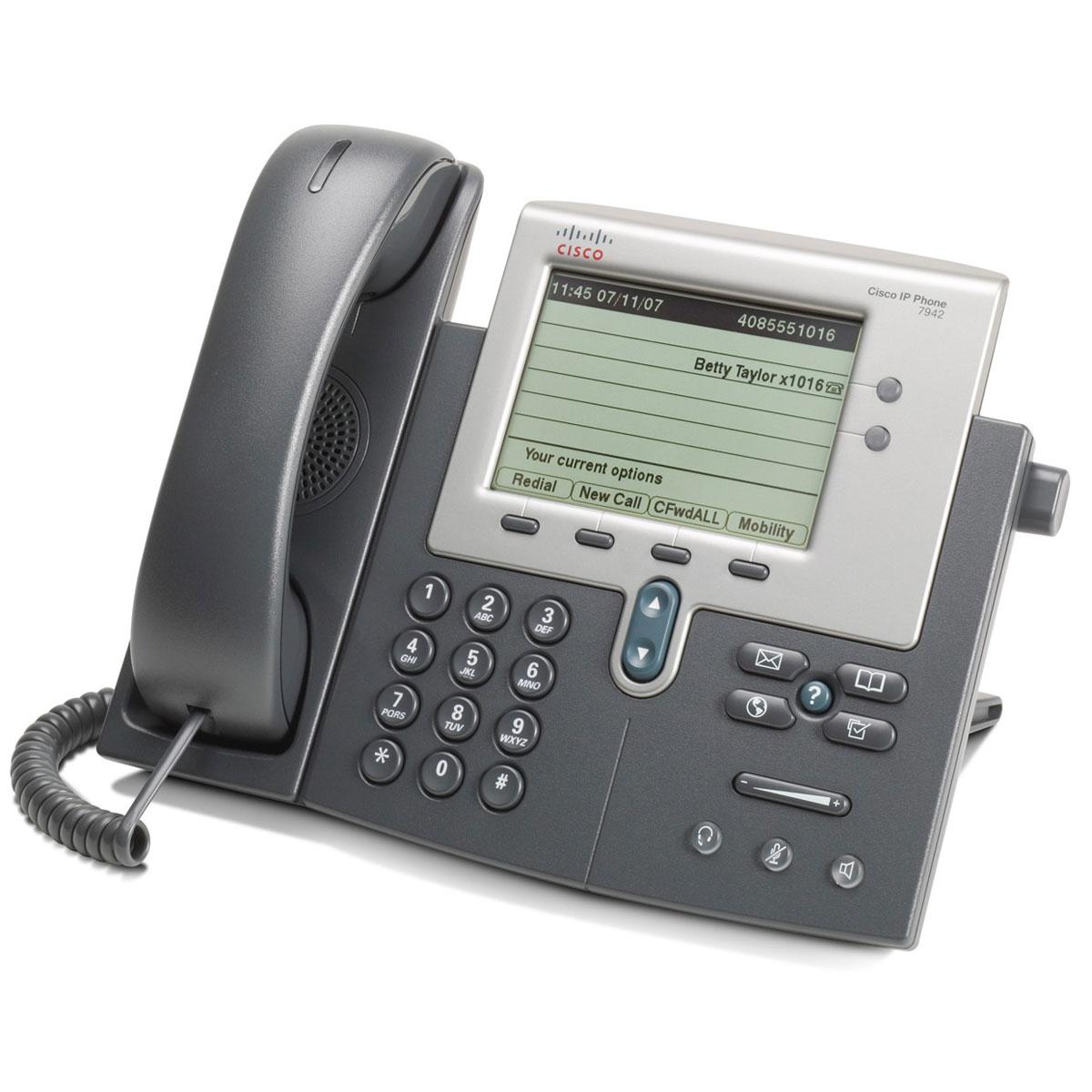 Téléphone filaire Cisco 7942G Téléphone 1 ligne pour VoIP PoE