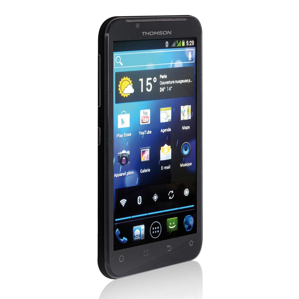 """Mobile & smartphone Thomson X-View2 Noir Smartphone 3G+ Dual Sim avec écran tactile 5.3"""" sous Android 4.0"""