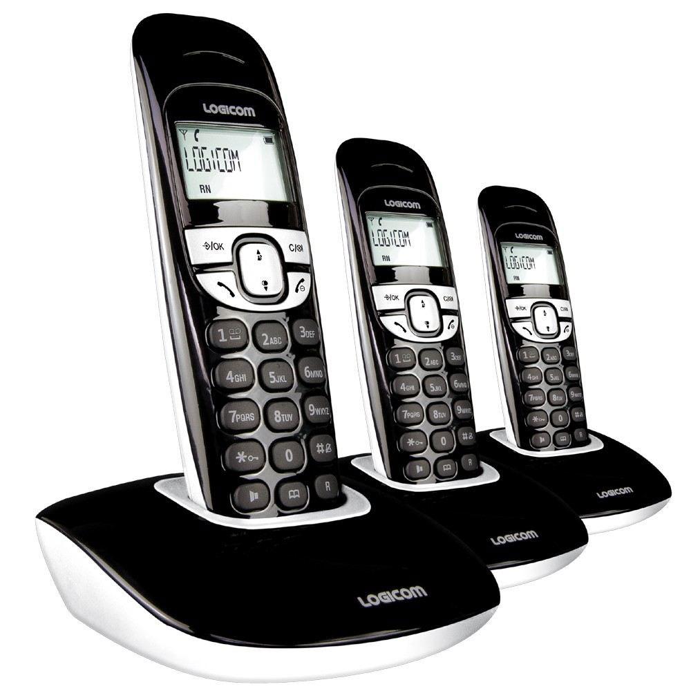 logicom soly 350 trio classic noir t l phone sans fil. Black Bedroom Furniture Sets. Home Design Ideas