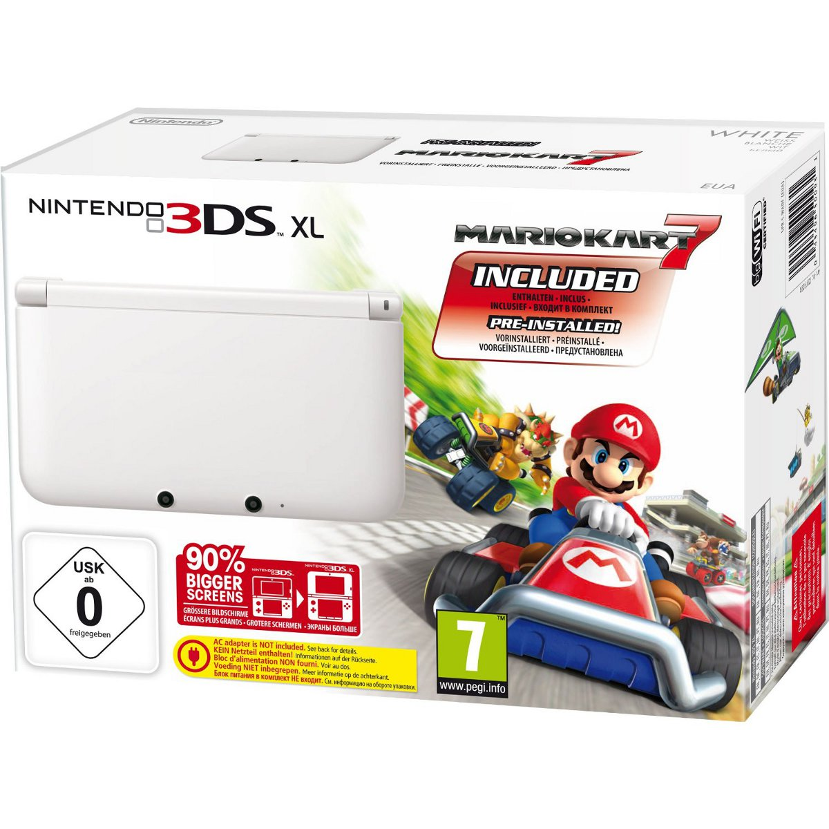 nintendo 3ds xl blanche mario kart 7 console nintendo. Black Bedroom Furniture Sets. Home Design Ideas