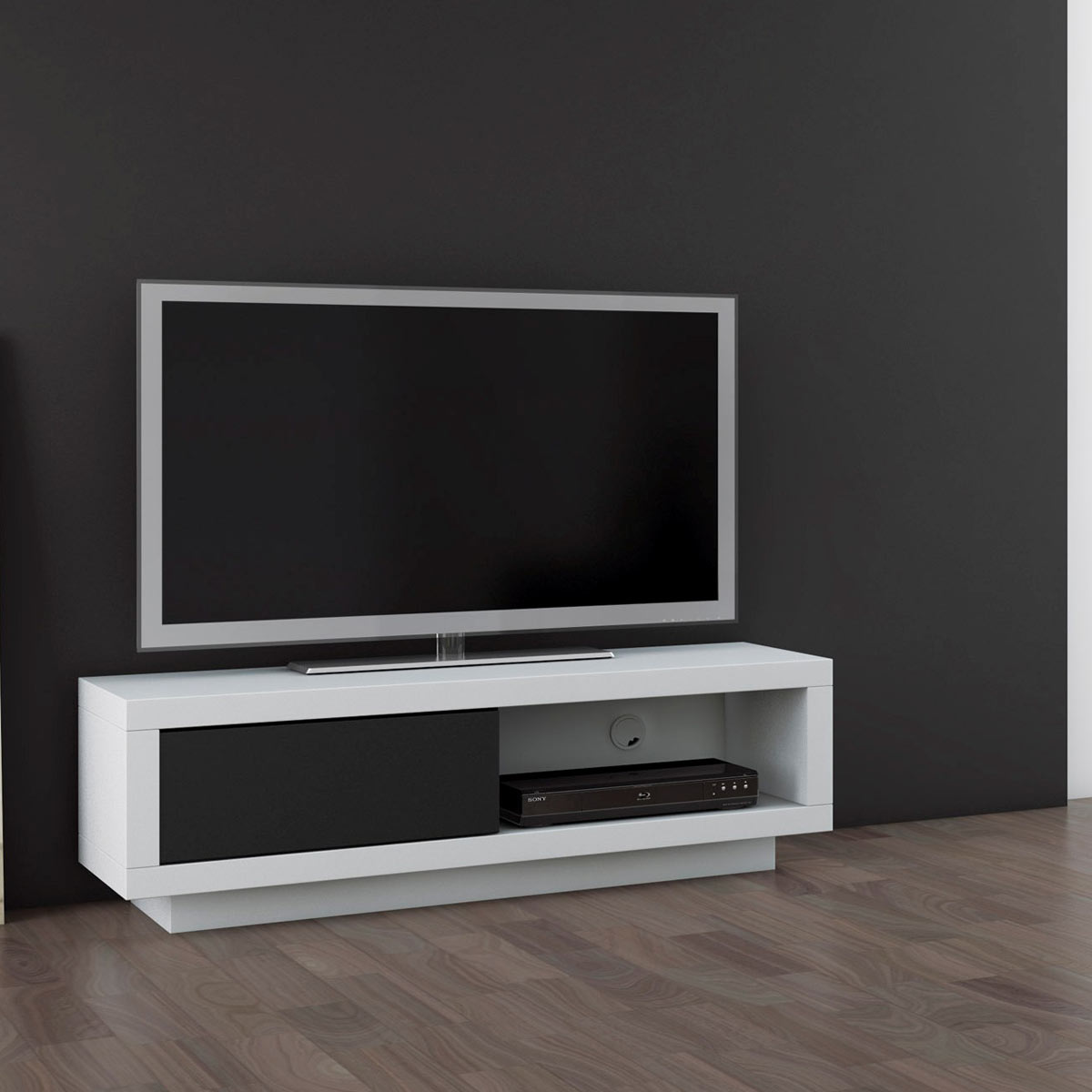 schnepel varic l blanc avec clapet meuble tv schnepel. Black Bedroom Furniture Sets. Home Design Ideas