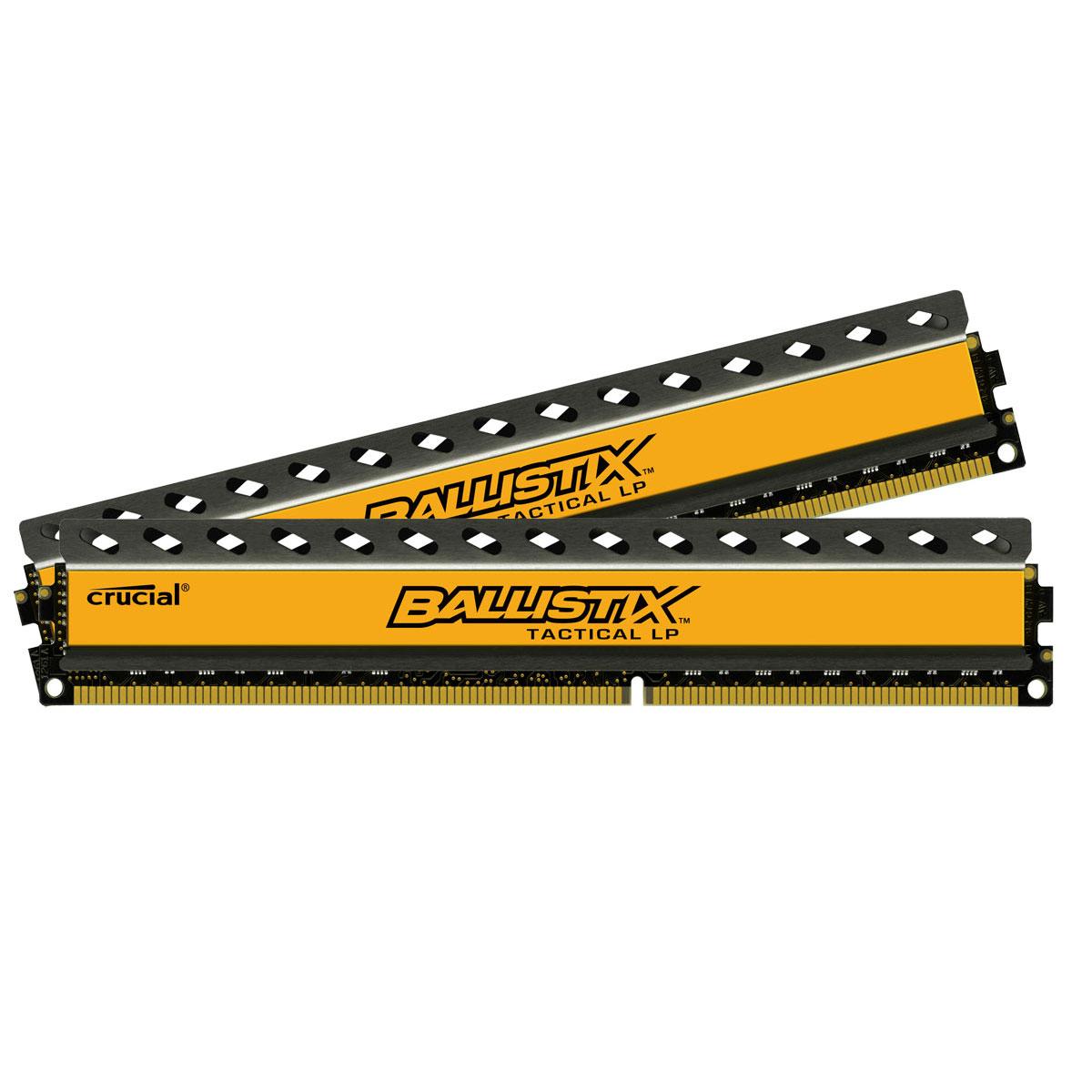 Mémoire PC Ballistix Tactical LP 8 Go (2 x 4 Go) DDR3L 1600 MHz CL8 Kit Dual Channel RAM DDR3L PC12800 - BLT2C4G3D1608ET3LX0CEU (garantie à vie par Crucial)