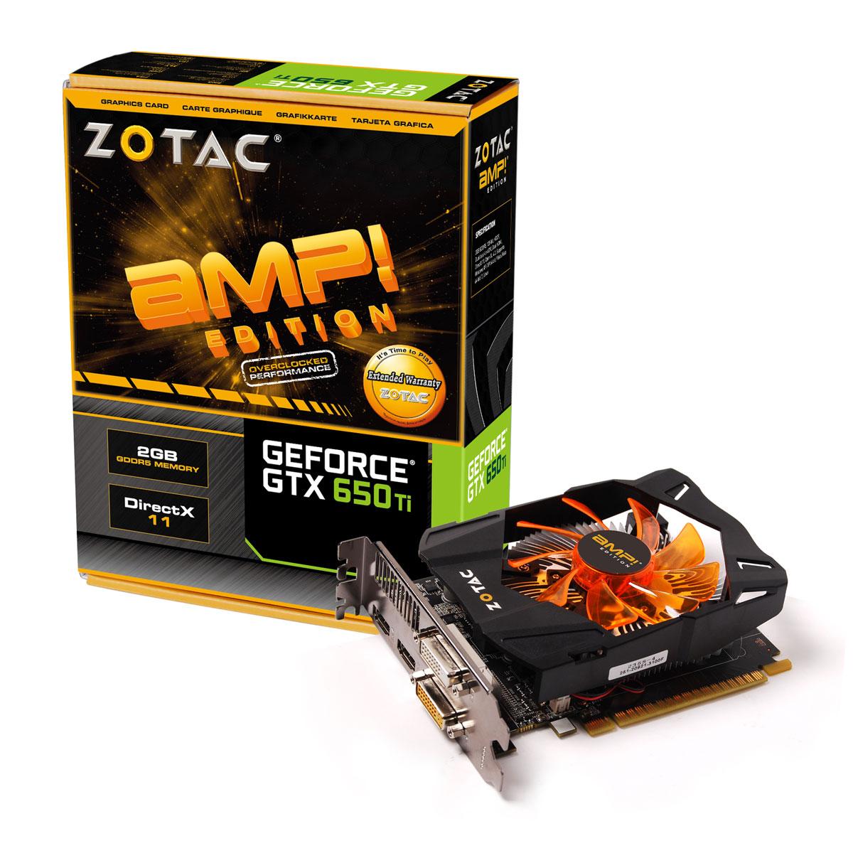 Carte graphique Zotac GeForce GTX 650 Ti AMP! Edition 2 GB 2048 Mo Dual DVI/Dual HDMI - PCI Express (NVIDIA GeForce avec CUDA GTX 650 Ti)
