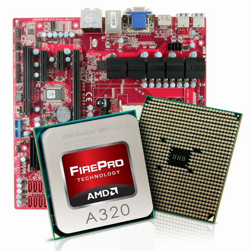 Carte mère SAPPHIRE PGS A320M Plateforme professionnelle Micro ATX avec APU AMD FirePro A320 - SATA 6Gb/s - DisplayPort/DVI/VGA - USB 3.0 - 1x PCI-Express 2.0 16x